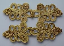 5 Golden Extra large 8In Deco Sewing Chinese Frog Closure Knot Fastener Buttons