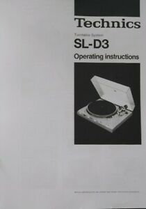 Technics - SL-D3 Turntable System - Operating Instruction - USER MANUAL