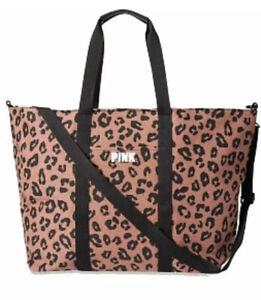 Victoria's Secret Pink Leopard Cheetah Travel Getaway Weekender Zipper Tote Bag