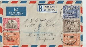 1953 ADEN  ENGLISH EMPLOYMENT MULTIFRANCHISING REGISTERED AIRMAIL TO ENGLAN
