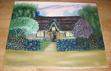 FOLK ART SUMMER SPRING THATCHED ROOF COTTAGE HOUSE GARDEN SUNSET OIL PAINITNG