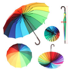 LARGE BRIGHT MULTI COLOURFUL RAINBOW GOLF UMBRELLA - 16 Rib Rainbow Durable