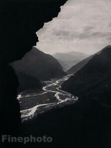 1935 Original ROD RIEDER River Valley Mountain Landscape Photo Gravure Art 11X14