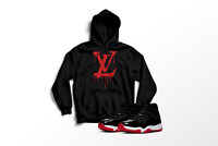 VL Drip Graphic Hoodie to Match Air Jordan Bred 11 2019 All Sizes