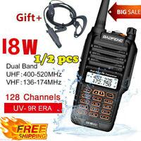 2x Baofeng UV-9R Plus VHF UHF Walkie Talkie Dual Band Handheld Two Way Radio 18W