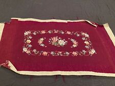 """Antique Burgundy Completed Needlepoint Flowers 29"""" x 18"""""""