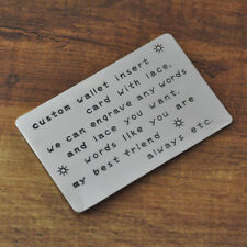 Personalized Wallet Insert Card,Hand Stamped Card, Men Jewelry, Valentines Gift