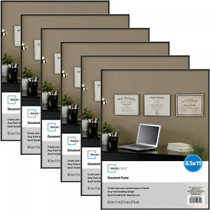 """8.5"""" x 11"""" Inch Document Format Picture Frame Set Of 6 Photo Certificates Black"""