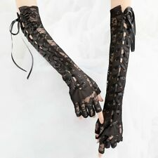 Womens Lace Gothic Gloves Lace Up Punk Lolita Sheer Vintage Tie-up Long Elbow