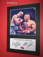 EVANDER HOLYFIELD V MIKE TYSON BOXING PHOTO MOUNT SIGNED REPRINT AUTOGRAPH