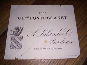 Etiquette vin / wine label  - ancienne CHATEAU PONTET CANET 1889  - RARE