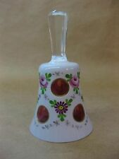 Vintage Bohemian Glass Bell ~ Cased White to Cranberry ~ Hand-Painted ~ Moser?