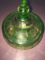 Green Glass Candy Dish Vintage