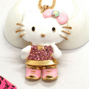 Pink Enamel Cute Bow Kitty Cat Crystal Betsey Johnson Chain Necklace