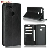 Luxury Genuine Leather Wallet Flip Case Cover For Oppo F9