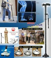 Magic Cane Folding Walking 4 Head Pivoting Trusty Base with LED baston Luz USA
