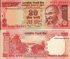 INDIA 20 RS 2014 E Inset Rare 01N Prefix Star Replacement Bank Note UNC NEW