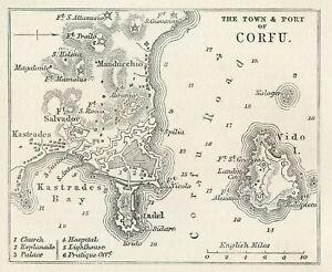 1896 The Town & Port of Cofru aka Kerkyra  Original Antique map. Greece