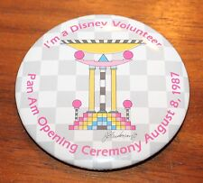 VERY RARE I'M A DISNEY VOLUNTEER PAN AM OPENING CEREMONY 1987  PIN BACK BUTTON 3