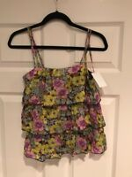 Leifnotes Anthropologie Floral Print Double Strap Tank Top, Size 0