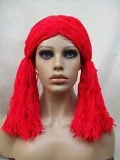 Adult Red Yarn Rag Doll Girl Wig Pigtails Raggedy Ann Ragdoll Circus Clown Anne