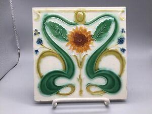 Antique English Art Nouveau Sunflower Flower Tile