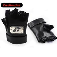Naruto Anime Gloves PU Leather Gloves Kakashi Leaf Village Ninja Cosplay Black