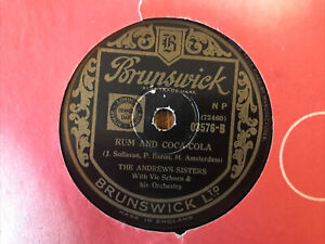 THE ANDREWS SISTERS Rum And Coca Cola / One Meat Ball 78 Record Brunswick 03576