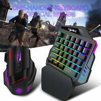 USB Wired LED Backlight Ergonomic Single Hand Keypad Gamer Gaming Keyboard Kit