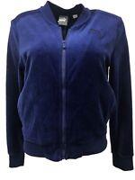 Puma Women's Velour Track Jacket Active Top Full Zip, Medium Blue Navy