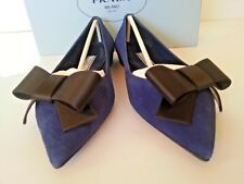 NEW Prada Pointy Bow Flat Ballet Pump Navy Suede /Black Bow 36.5