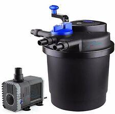 1600 Gal Pressure Pond Filter w/ 13W UV Sterilizer Koi Fish+ 1600GPH Water Pump