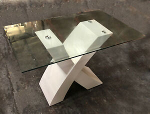 Modern White Glass Dinning Kitchen Table Seats 6