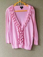 Women's Talbots Medium Petite Pima Cotton Cardigan Pink Ruffles 3/4 sleeve M