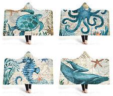 Sea Horse Turtle Octopus Whale Adult Kids Warm Winter Hooded Blanket Sofa Throw