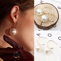 Elegant Women Jewelry Pearl Geometric Gold Circle Drop Dangle Hoop Stud Earrings