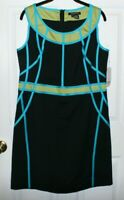 NEW ETCETERA GAMIN STRETCH COLOR BLOCKED SLEEVELESS DRESS BANDING TRIM Size 12