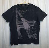 Marc Ecko Cut & Sew V-Neck T-Shirt Men's XXL Black Bridge Graphic
