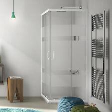 Box doccia angolare 80x100 vetro design serigrafato con profili alluminio bianco