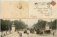 FRANCE EARLY PANORAMA PPC PEOPLE CARRIAGES 1902 CHARGED 3d POSTAGE DUE GODALMING