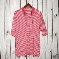 PETER MILLAR Men's Short Sleeve GOLF Polo Shirt Pink Striped Chest logo XL