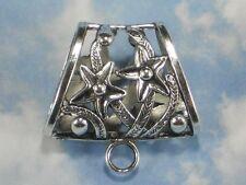 1 LG Slide Pendant Bail 39mm Stars Vines Necklace Enhancer Silver Tone #P1543