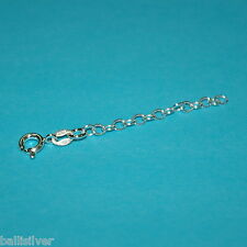 "Sterling Silver 925 2"" CHAIN EXTENDER with Spring Ring Clasp Real Genuine Silver"