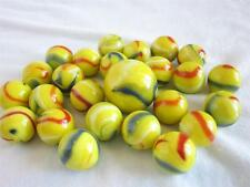 25 Glass Marbles PARROT Yellow/Blue/Red Game Pack Shooter vtg style Swirl