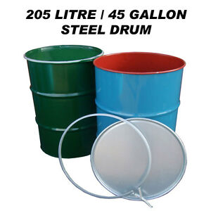 205 LITRE/45 GALLON STEEL DRUM/BARREL/CONTAINER FOR SHIPPING/WASTE/FEED/BIN