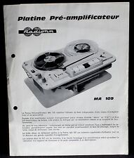 Platine pré-amplificateur Radiotum MA 109, notice technique BE