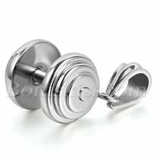 Mens Silver Tone Stainless Steel Dumbbell Barbell Fitness Pendant Necklace Chain