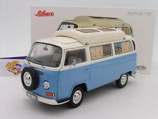 """Schuco 00435 # VW Bus T2a Campingbus Baujahr 1970 in """" neptunblau-weiß """" 1:18"""