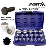 """Douilles SPLINE universelles 12 PANS 1/2"""" de 8 à 32 mm de 5/16"""" à 1-1/4"""" ASTA"""