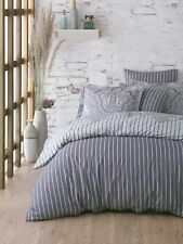 Vhd - Reversible Stripe Tulip %100 Cotton Duvet Cover Set Soft Hypoallergenic